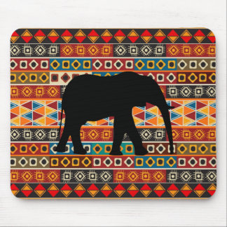 African Motif Colorful Decorative Pattern Elephant Mouse Mat