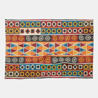 African Motif Colorful Decorative Pattern Tea Towel