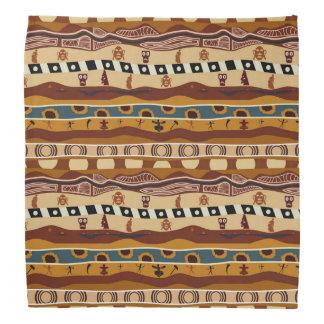 African Motifs Ethnic Art Earth Tone Head Kerchief