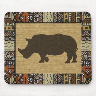 African Mudcloth and Rhino Mouse Mat