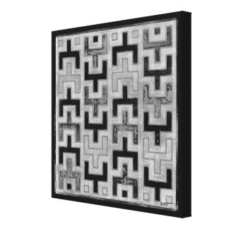 African Mudcloth Textile with Geometric Patterns Canvas Print