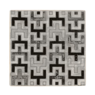 African Mudcloth Textile with Geometric Patterns Maple Wood Coaster