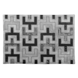 African Mudcloth Textile with Geometric Patterns Placemat