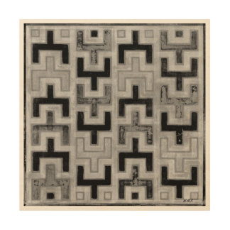 African Mudcloth Textile with Geometric Patterns Wood Canvases