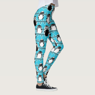 African owls Blue leggings