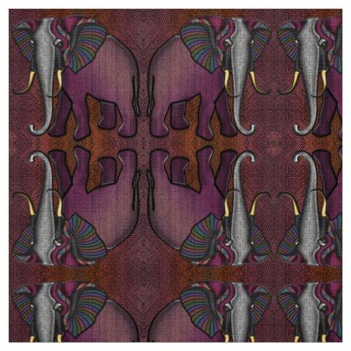 African Patchwork Elephant (Plum, Orange, Grey) Fabric