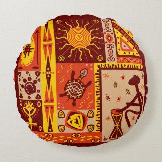 African Pattern 2 Round Cushion