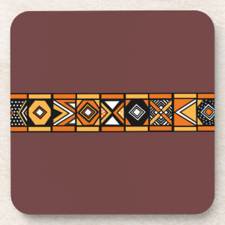 African pattern brown coasters