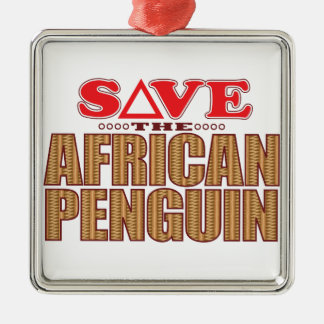 African Penguin Save Silver-Colored Square Decoration