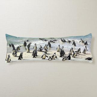 African penguins on beach body cushion
