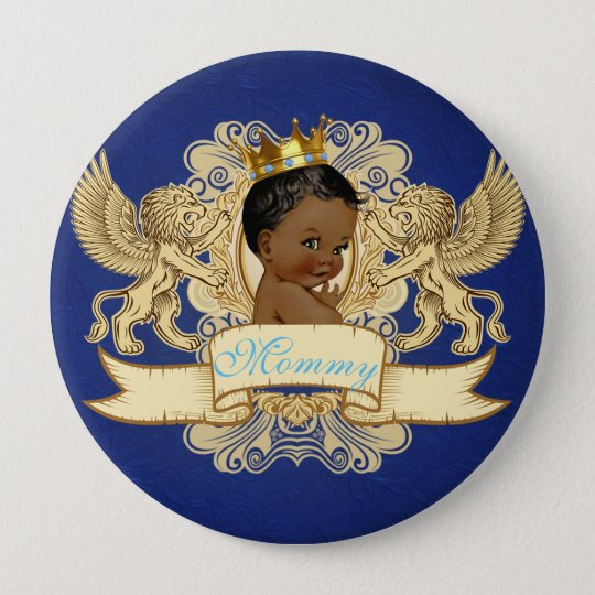 African Prince Royal Baby Shower Button