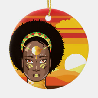 African Princess Round Ceramic Decoration