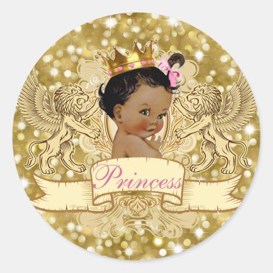 African Princess Royal Gold Glitter Favour Sticker