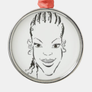 African Princess Silver-Colored Round Decoration
