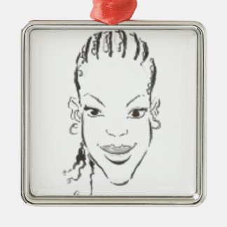 African Princess Silver-Colored Square Decoration
