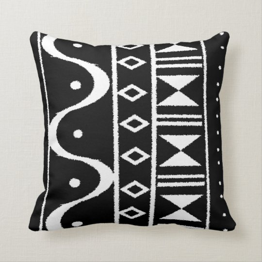 African Print I Black/White Throw Pillow