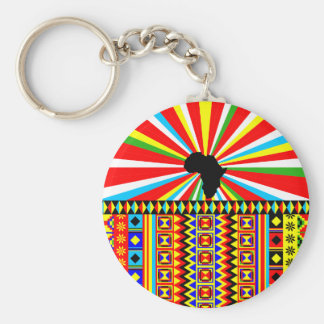 African Print Kente Cloth Tribal Pattern Ankara Basic Round Button Key Ring