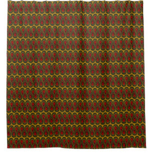 African Print Shower Curtain Red Gold