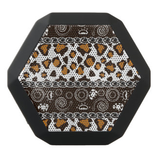 African print with cheetah skin pattern black bluetooth speaker