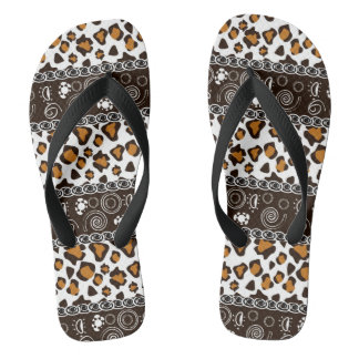 African print with cheetah skin pattern flip flops