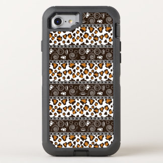 African print with cheetah skin pattern OtterBox defender iPhone 8/7 case