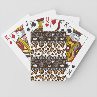 African print with cheetah skin pattern playing cards
