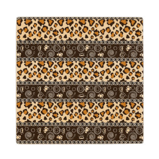 African print with cheetah skin pattern wood coaster