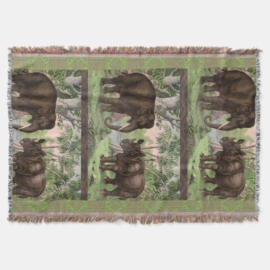 African Rhino and Elephant Throw Blanket