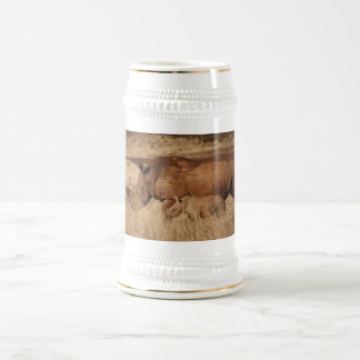 African Rhino mom and baby Beer Stein