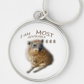 AFRICAN ROCK HYRAX Silver-Colored ROUND KEY RING