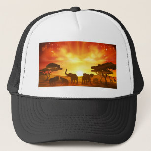 769b56274c6 African Safari Animal Savannah Silhouette Scene Trucker Hat