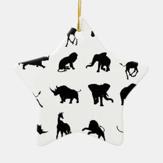 African Safari Animal Silhouettes Christmas Ornament