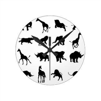 African Safari Animal Silhouettes Clocks