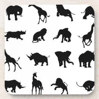 African Safari Animal Silhouettes Coaster