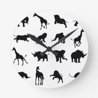 African Safari Animal Silhouettes Round Clock