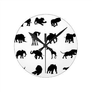 African Safari Animals Silhouettes Clocks