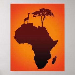 African Safari Map - Poster Print