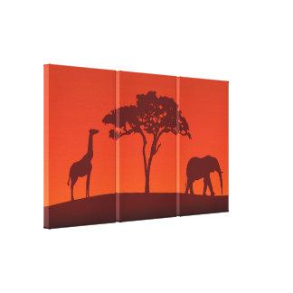 African Safari Silhouette - 3 Panels Canvas Print