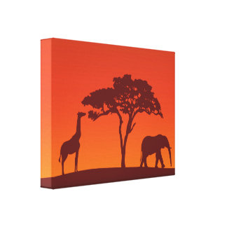 African Safari Silhouette - Canvas Print