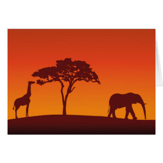 African Safari Silhouette - Greeting Card