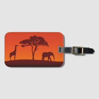 African Safari Silhouette - Luggage Tag