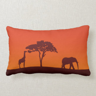 African Safari Silhouette - Lumbar Pillow