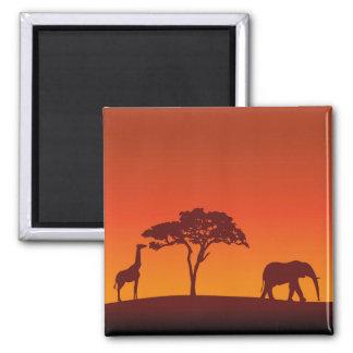African Safari Silhouette - Magnet