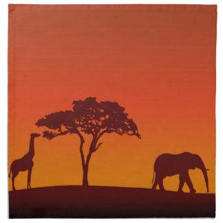 African Safari Silhouette - Napkin