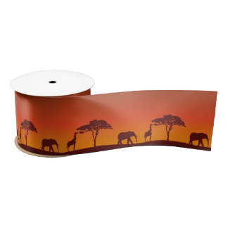 African Safari Silhouette - Ribbon Satin Ribbon