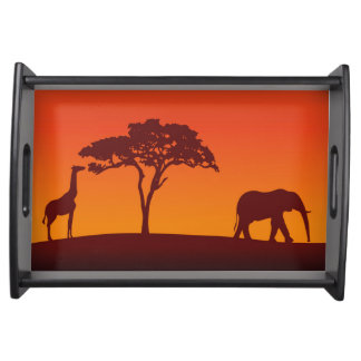 African Safari Silhouette - Serving Tray