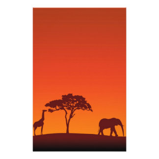African Safari Silhouette - Stationery Letterhead