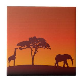 African Safari Silhouette - Tile