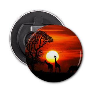 African Safari Sunset Animal Silhouettes Bottle Opener