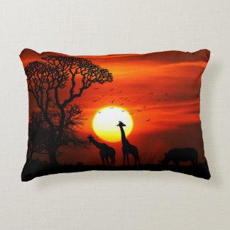 African Safari Sunset Animal Silhouettes Decorative Cushion